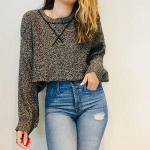 Aiko marbled cropped batwing thin sweater